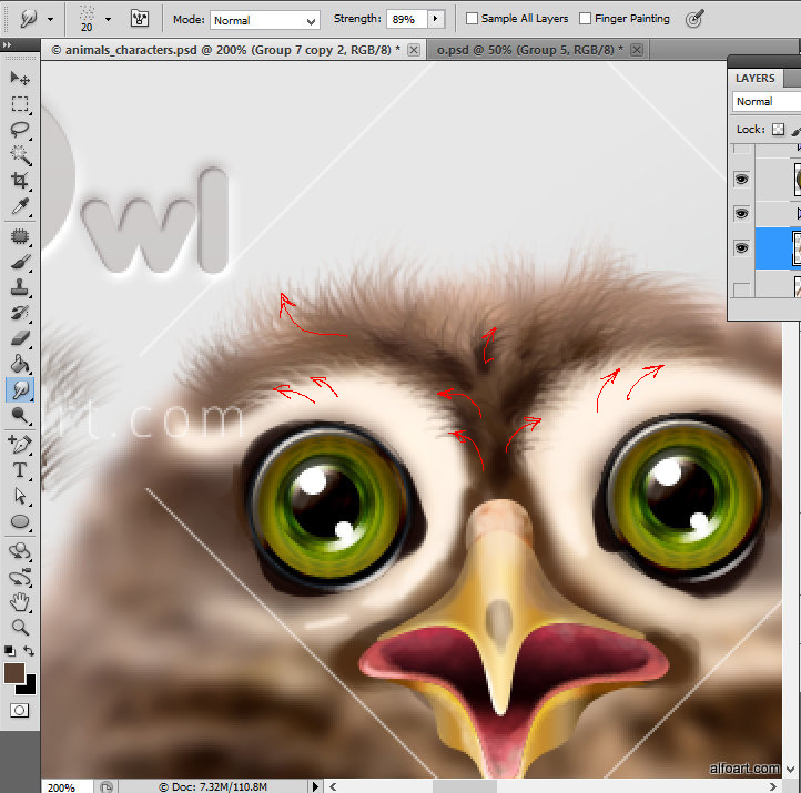 Learn how to create cute and funny animals characters by using simple tools and techniques. This Adobe Photoshop tutorial teaches how to apply smooth fur texture and sharp elements to rough sketch of owl.