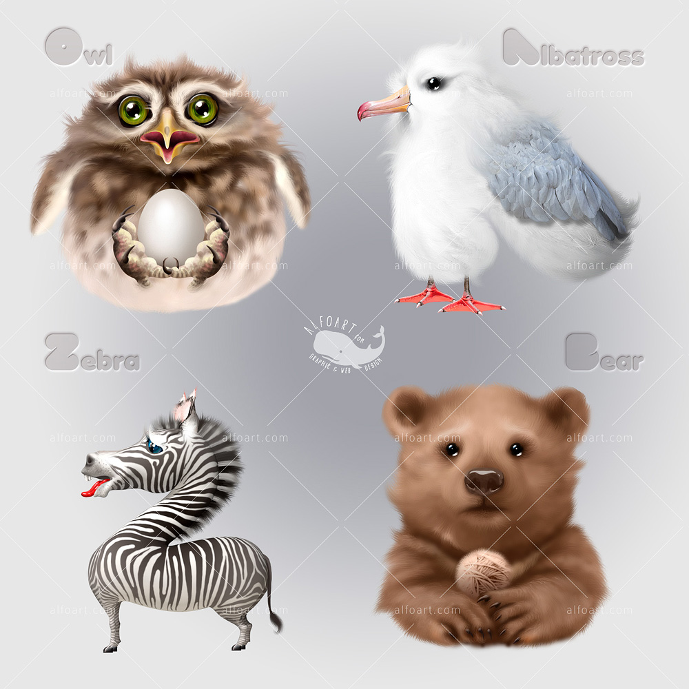 Learn how to create cute and funny animals characters by using this adobe photoshop tutorial teaches how to apply smooth fur texture and sharp elements to rough sketch baditri Image collections