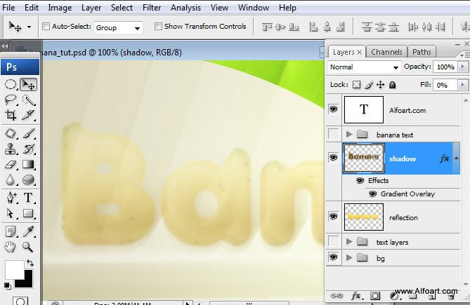 Banana 3D text effect, yellow text, fruit text effect in photoshop, free psd file, funny and cute text