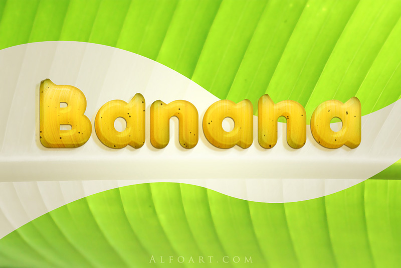"""Learn how to create 3D """"banana"""" text with realistic yellow texture. We will"""