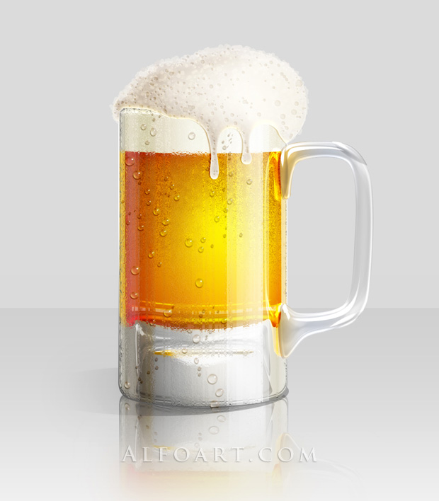 Shiny Cold Beer Glass Illustration with colorfull liquid inside and splashing effect.Create realistic glossy glass with liquid in them, make reflections and shadows