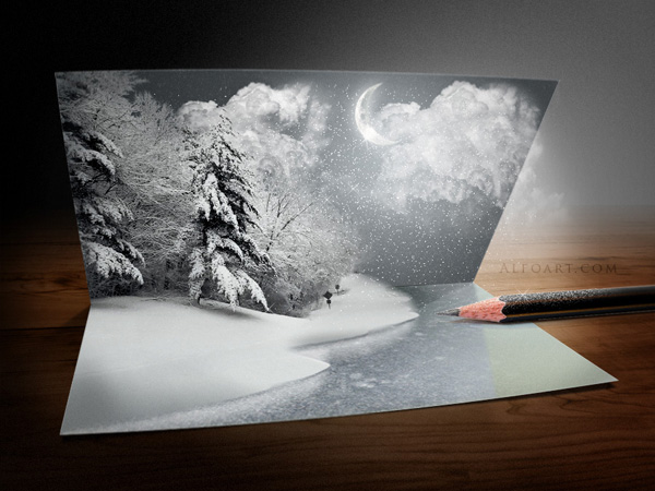 Unusual Christmas Card. Photoshop tutorial