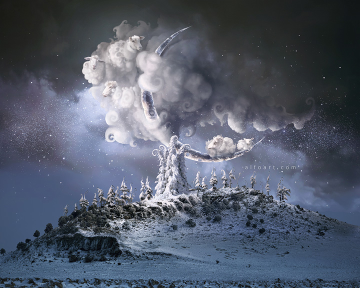 Christmas Dream. Fairy night with the crescent above the clouds. Moon craters 3D model. Fairy Christmas snoe and icy landscape.