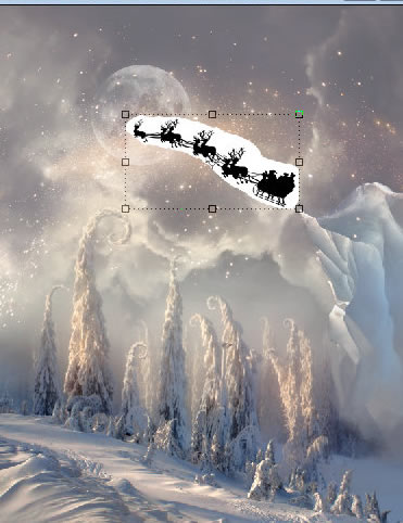 Christmas night, new year card, flying Santa Claus, fairy christmas landscape, snow scene, christmas trees, iceberg, night stars, moon light, santa's deers, christmas sleigh.