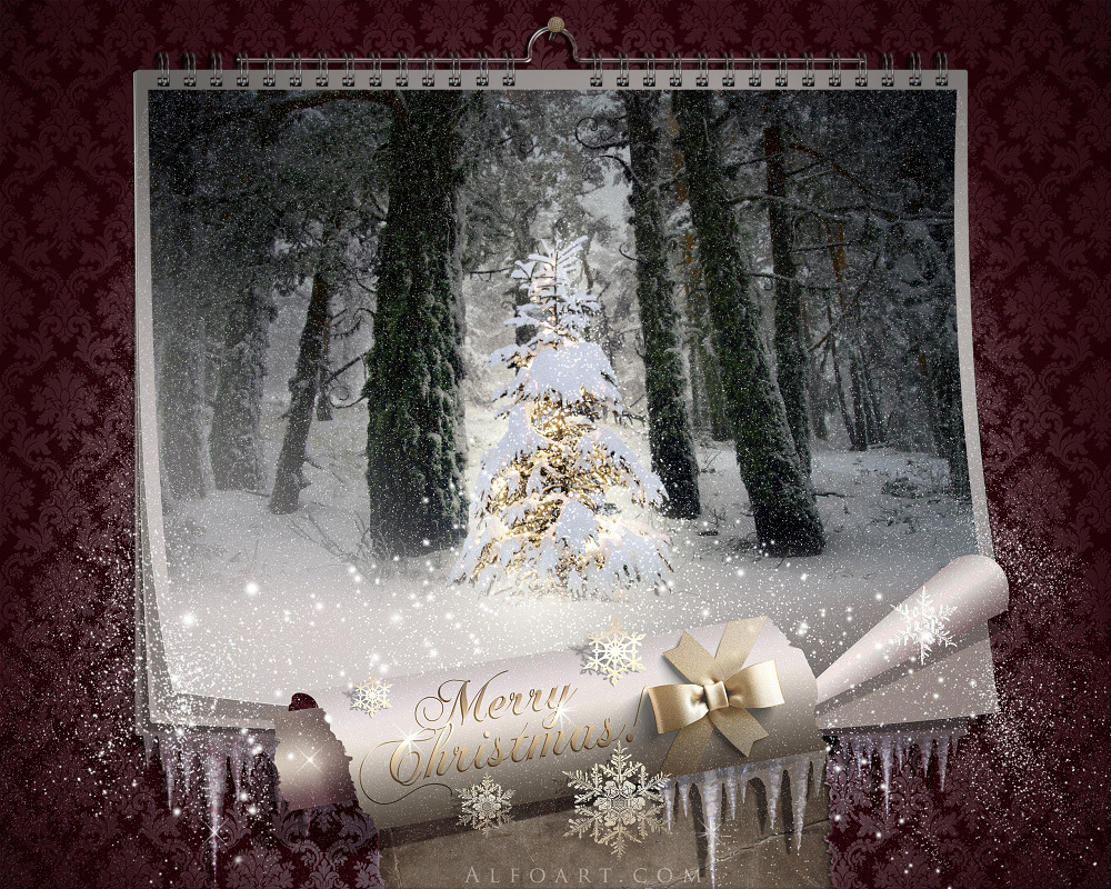 Fairy christmas night magic wall calendar falling snow effect elegance wallpaper theme free webdesign photoshop tutorial vintage wordpress template curled paper baditri Image collections