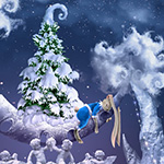 Learn how to create fairy tale style landscape with Christmas tree, Crescent Moon, surrealistic snow fountain