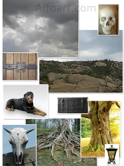 Dark landscape tutorial, mysterious, horror pictures and images, mystic, night, Ghost dog, Photo manipulations, digital art, collage, treasure, Mysterious tree