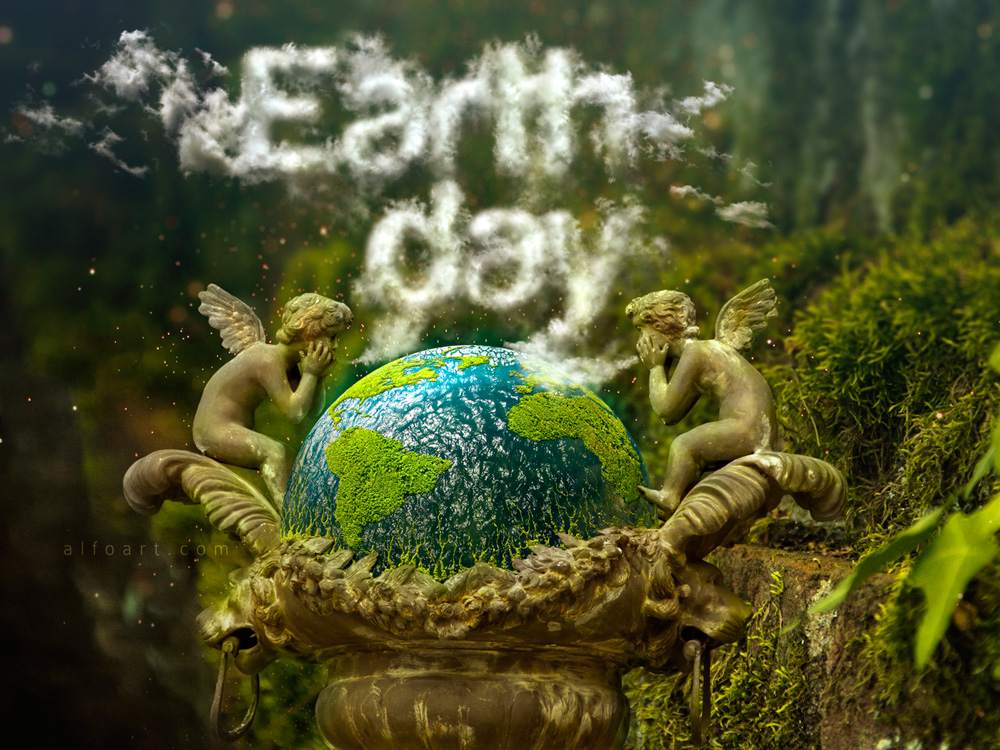 Line Art Effect Photoshop Tutorial : Earth day and realistic clouds text effect photoshop tutorial plus