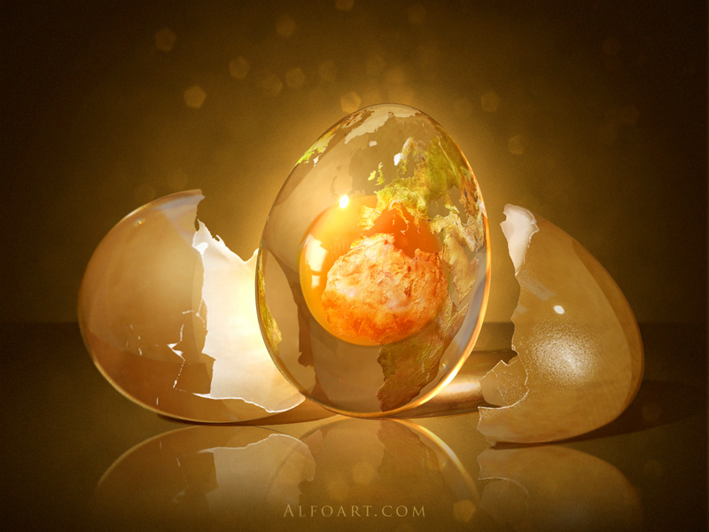 egg planet  fantastic globe photo manipulation  in adobe photoshop