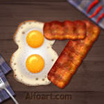 fried eggs and bacon text effect