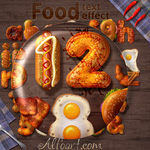 Fried eggs and bacon in Photoshop. Create 3D Fast Food text effect in Adobe Photoshop.