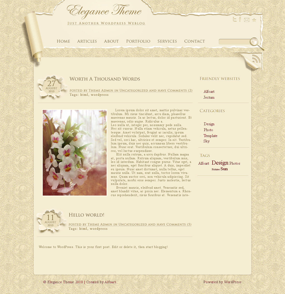 Elegance Wallpaper Theme Free Webdesign Photo Tutorial Vintage WordPress Template Curled Paper