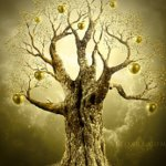 Golden Apple Tree. Magic scene photomanimpulation