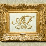 Vintage style monogram in the antique golden frame