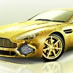 Golden foil cover for luxury Aston Martin car