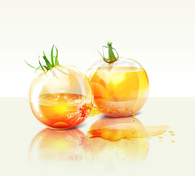 Shiny glass yellow tomatoes with colorfull liquid inside and splashing effect.Create realistic glossy glass tomatoes with liquid in them, make reflections and shadows
