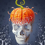 Halloween card. Creepy skull with the pumpkin brains effect