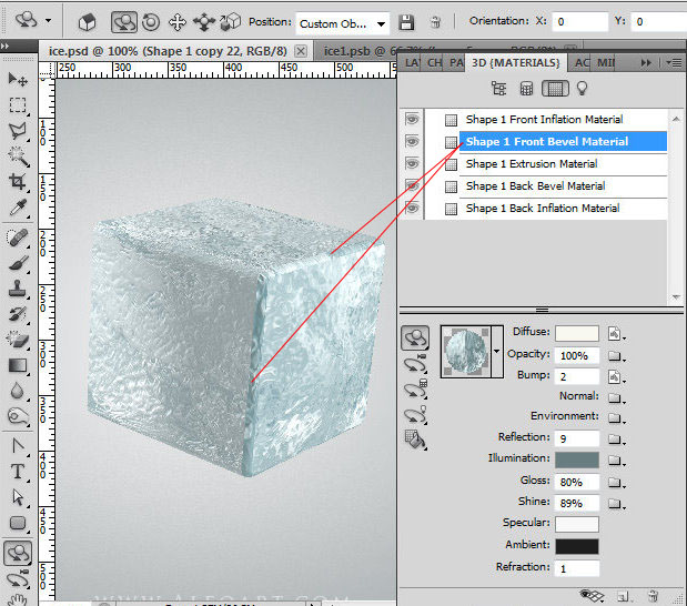 Ice cube 3D photoshop tools tutorial  3D scene ice cube and