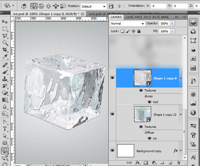 Ice Cube 3d Photoshop Tools Tutorial 3d Scene Ice Cube And Cherry