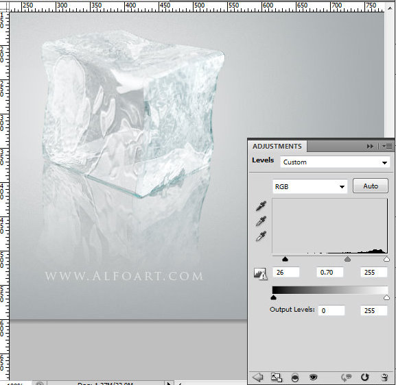 Ice cube 3D photoshop tools tutorial. 3D scene ice cube and cherry inside, ice txture effect in photoshop, ice reflection, 3D rendering, 3D light effects, realistic ice effectt, winterphotoshop  ideas