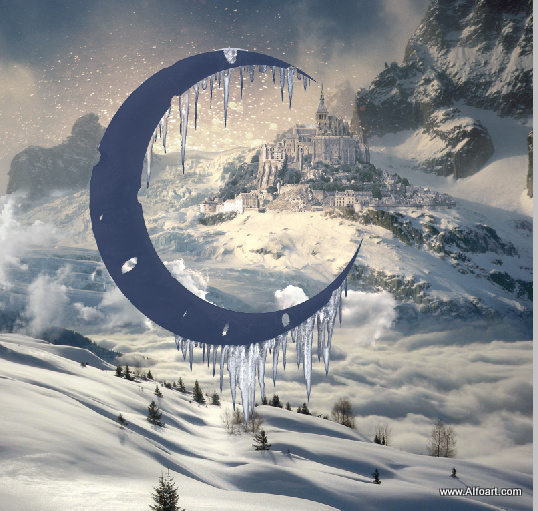 Magic Christmas Fairy night with the crescent above the clouds. Moon or crescent 3D model