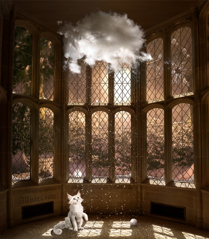 Snowfall from the magic cloud in old Tudor style house. Fairy tale winter scene with white cat, cloud inside the old house, animated snowfall, large window and beautiful night glow effects.