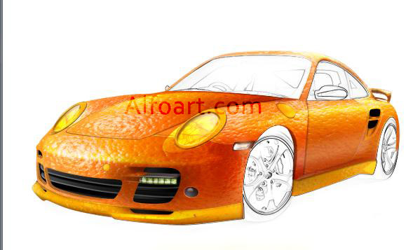 gold and orange porsche
