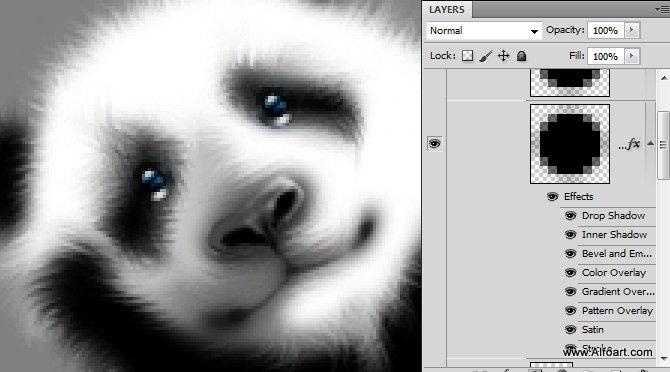 熊猫竹叶黑白图