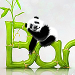Cute Pandas and Bamboo Text Effect