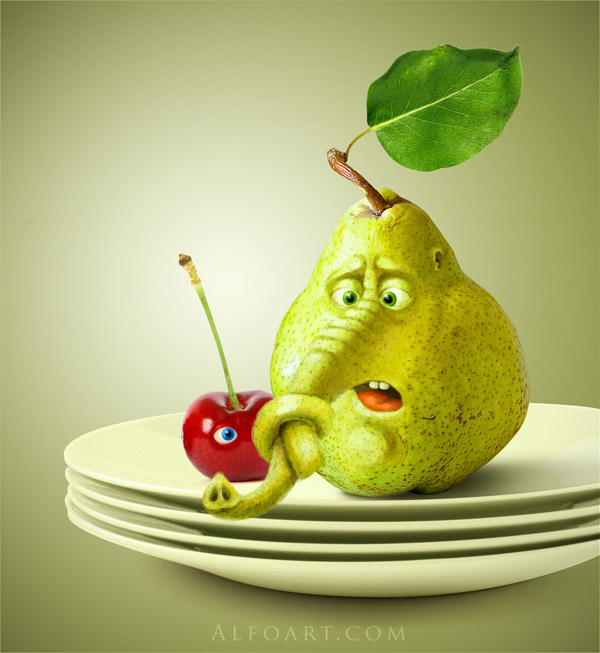 funny fruits, digital painting, pear, cherry, elephant trunk, confused, plates, fruits with faces,