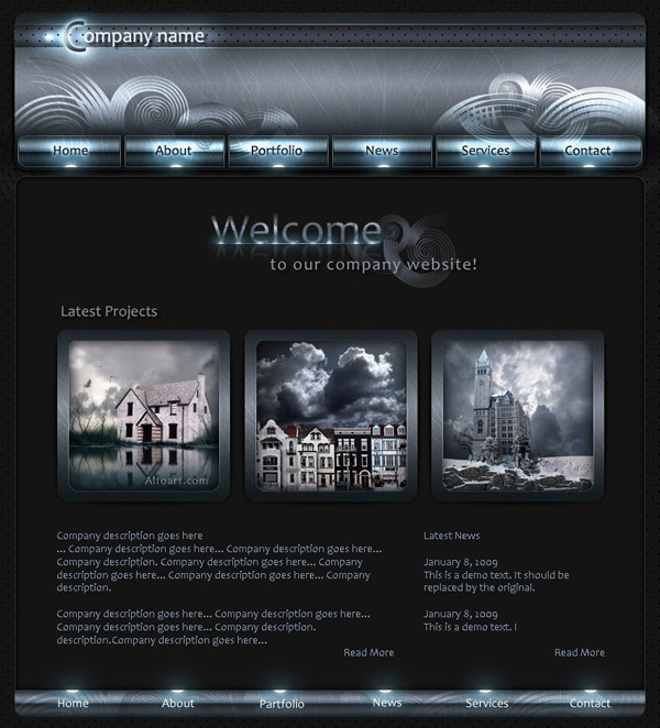 platinum shiny,glossy and dark web design