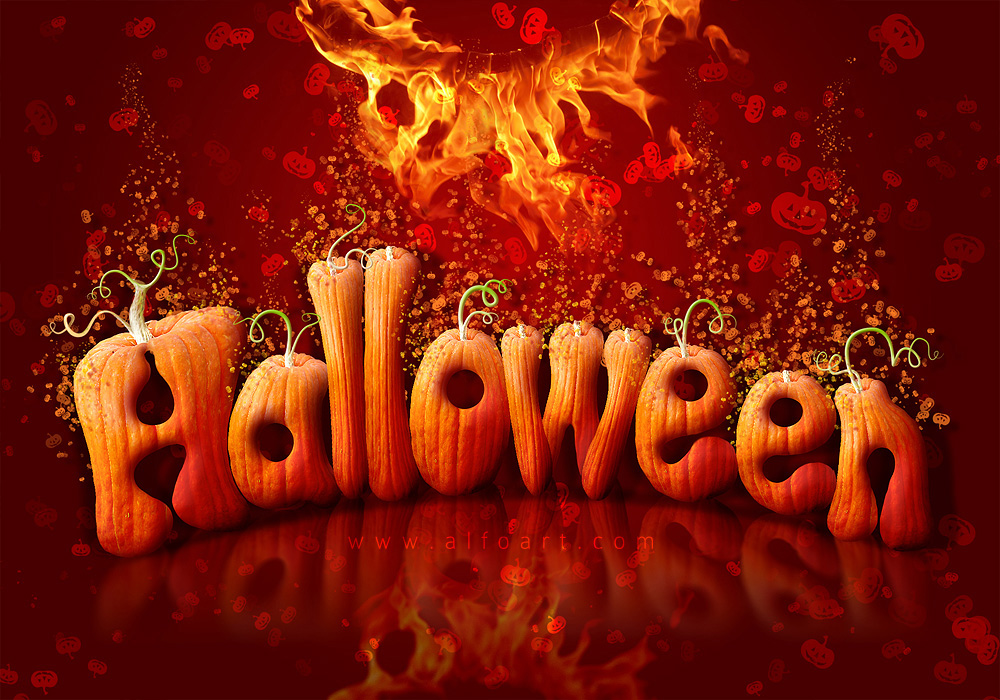 Halloween Style Font  How to create letters from pumpkin
