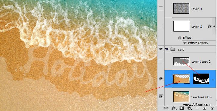 Learn how to create realistic sea foam text effect and how to apply sea/ocean foam pattern to the text shape on the beach sand.