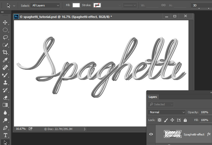 Spaghetti Text Effect. Fairy night with the crescent above the clouds. Moon or crescent 3D model