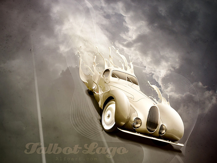 Luxury retro car poster with paint splashing effect. Talbot-Lago T-150 CSS