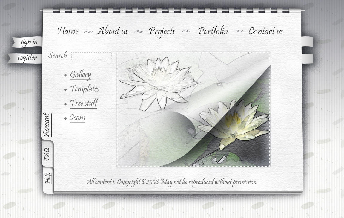 Learn how to make a photoshop white notebook style web template with white notebook style for web site design baditri Gallery