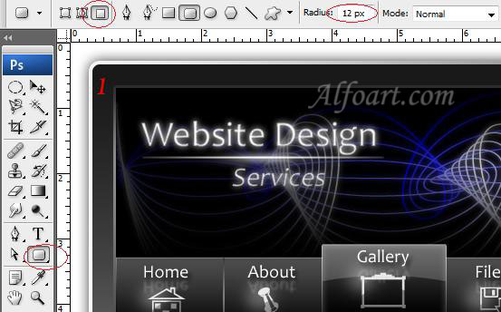 How to design glossy black website layout in Adobe Photoshop