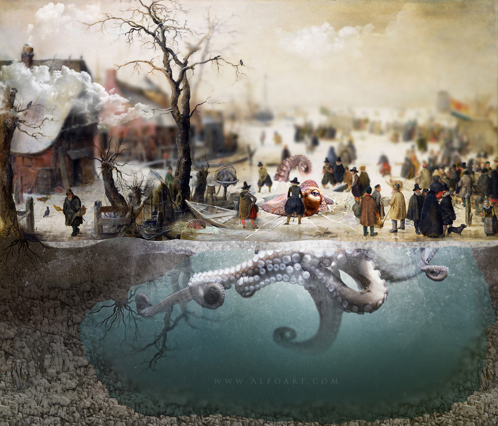 Photoshop digital art old oil painting photo manipulation photo manipulation with old oil painting winter scene on a canal baditri Gallery
